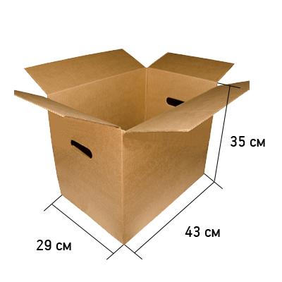 Картонная коробка с ручками 43*29*35 см